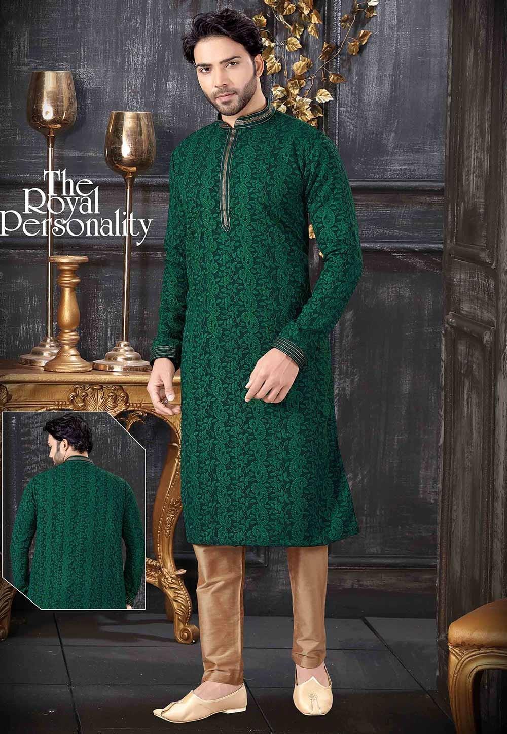 Lucknowi Kurta Pajama Green Colour.