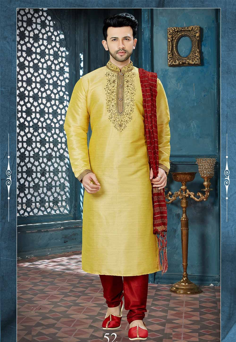 Yellow Color Indian Kurta Pajama.