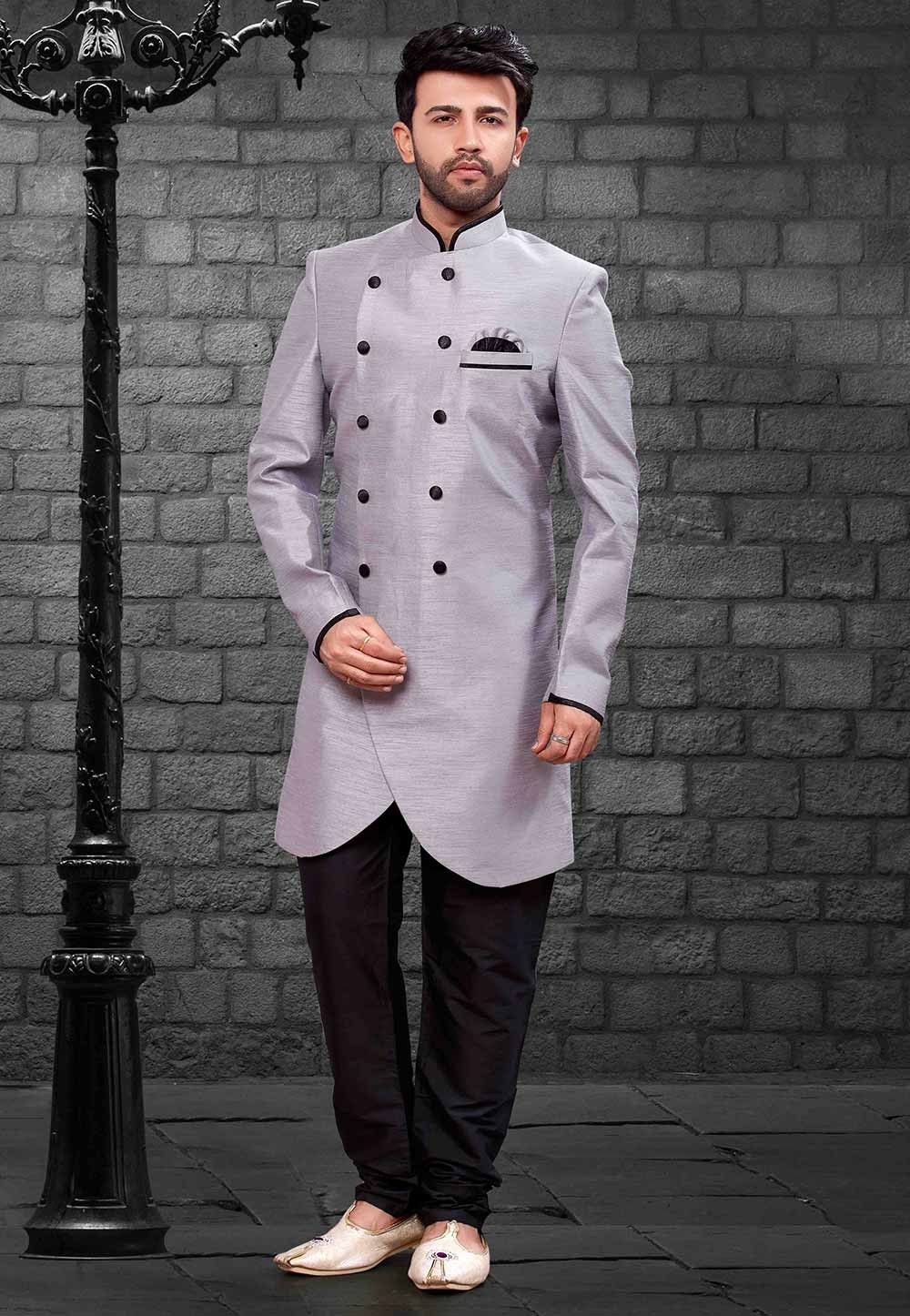 Grey Colour Men's Indowestern.