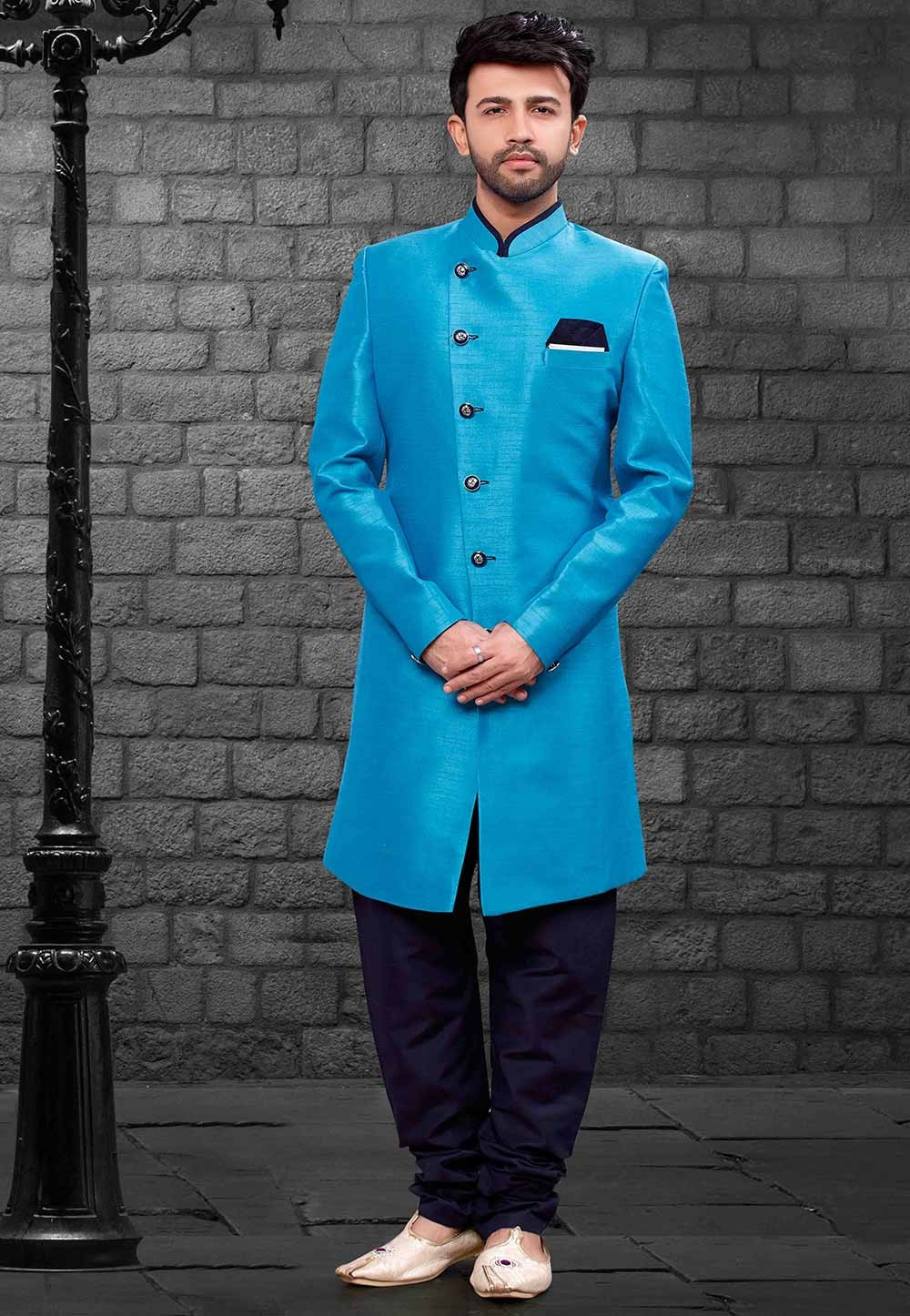 Blue Colour Party Wear Indowestern.