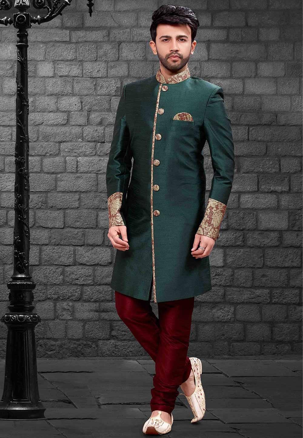 Green Colour Designer Indowestern.