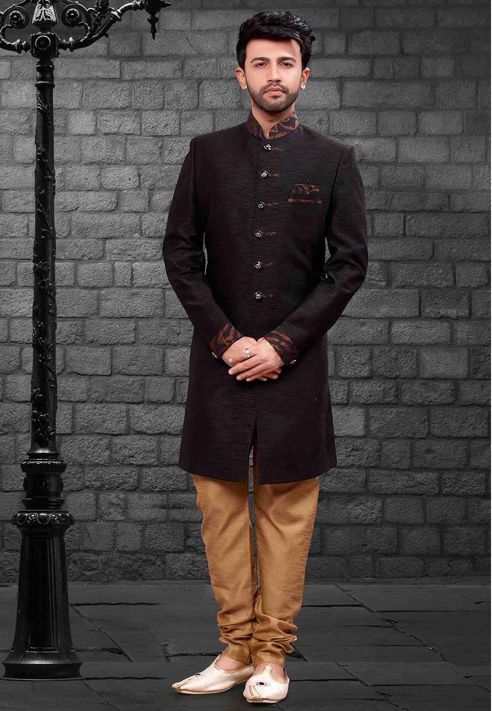 Black Colour Party Wear Indowestern.