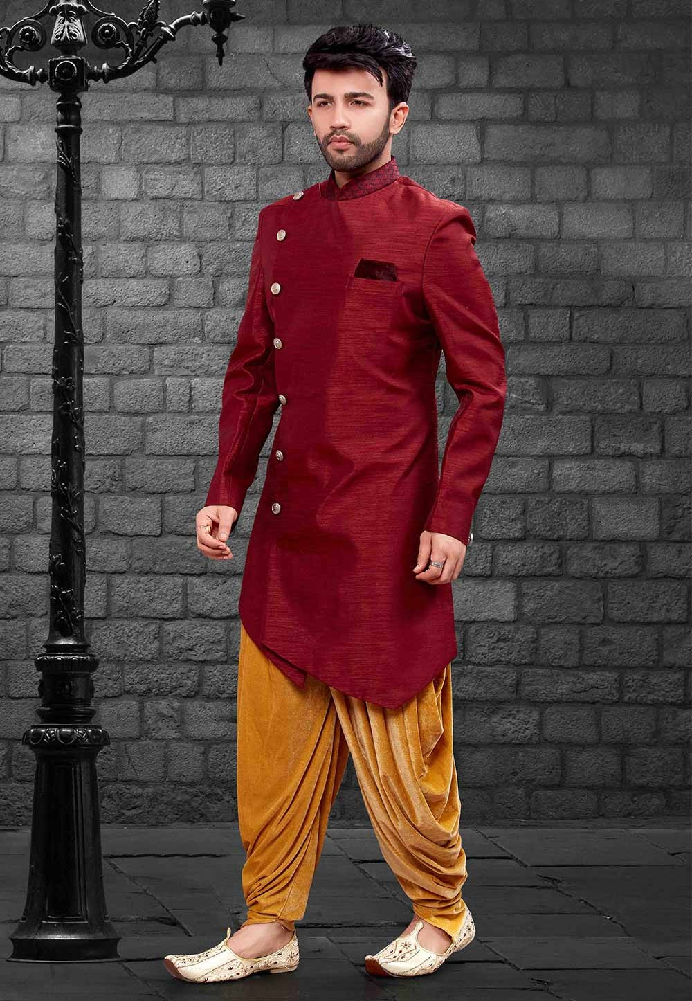 Maroon Colour Party Wear Indowestern.