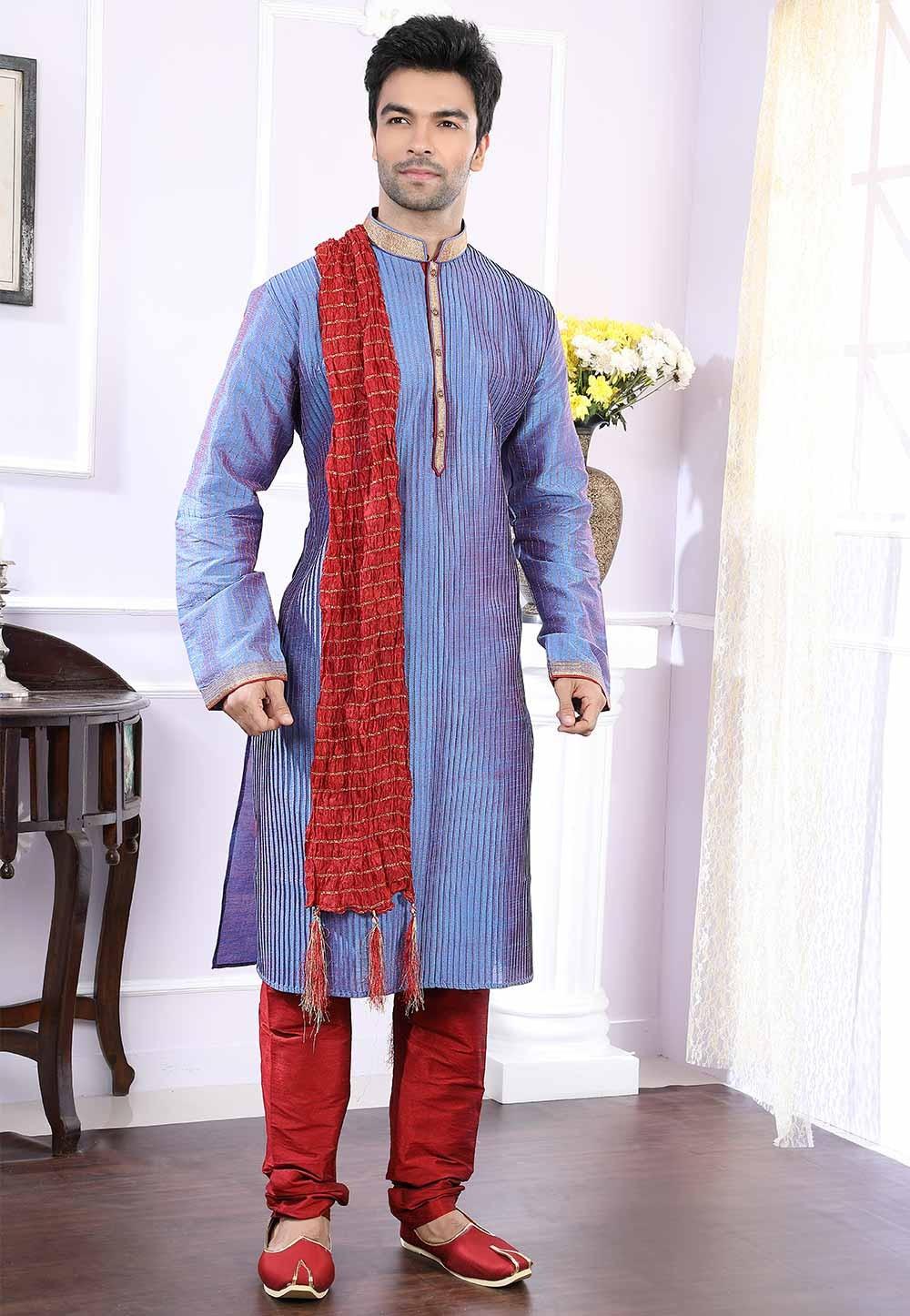 Buy readymade kurta pyjama online in blue colour