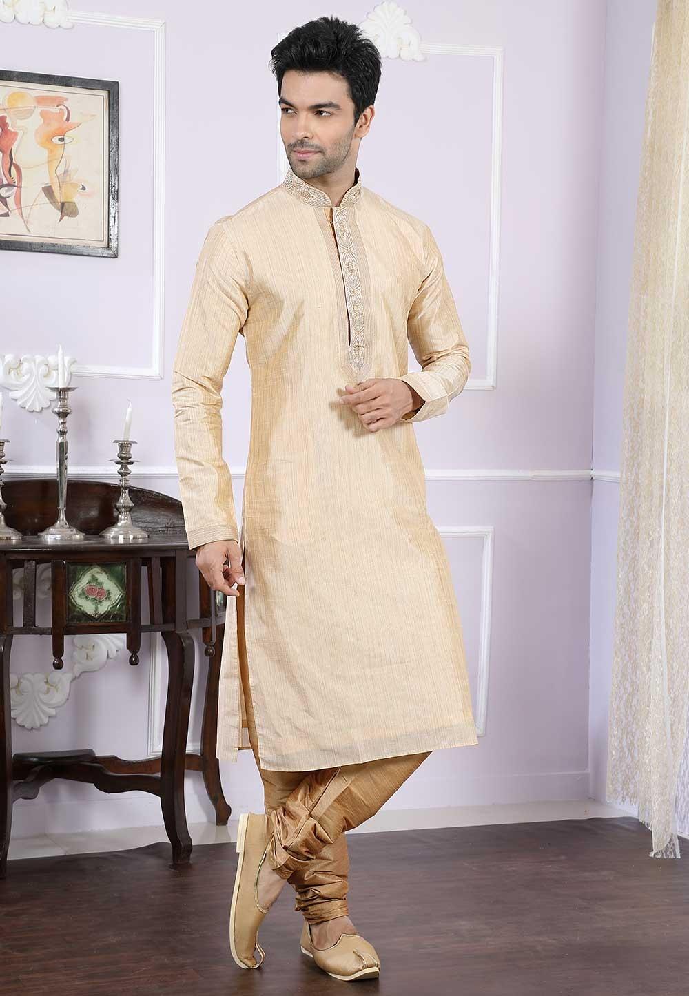 Buy designer kurta pajama in golden colour