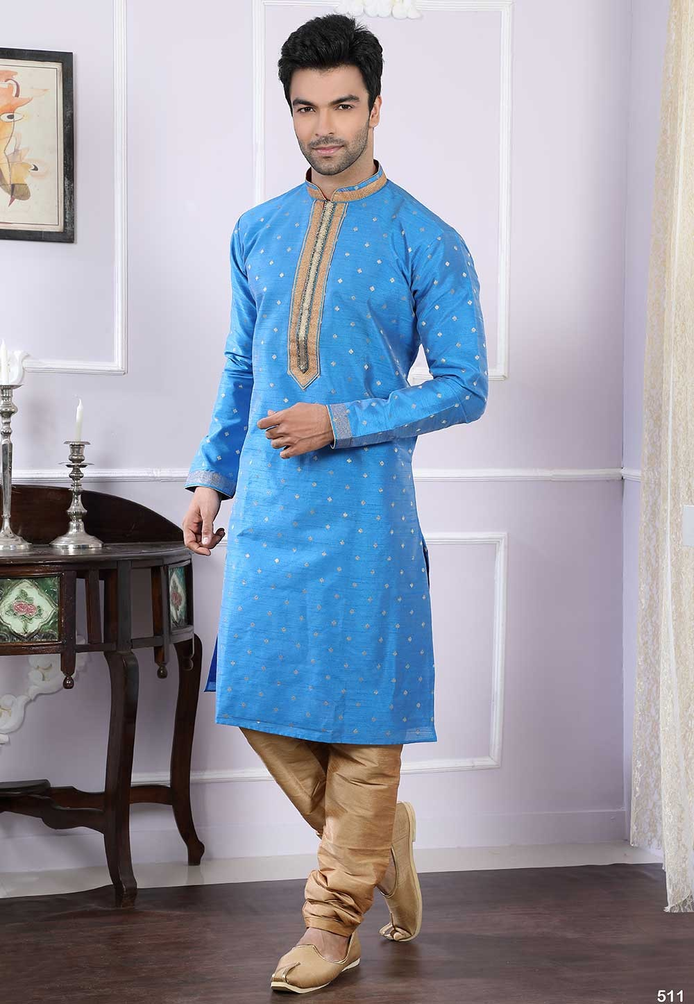 Buy kurta pyjama online in blue colour for Men's
