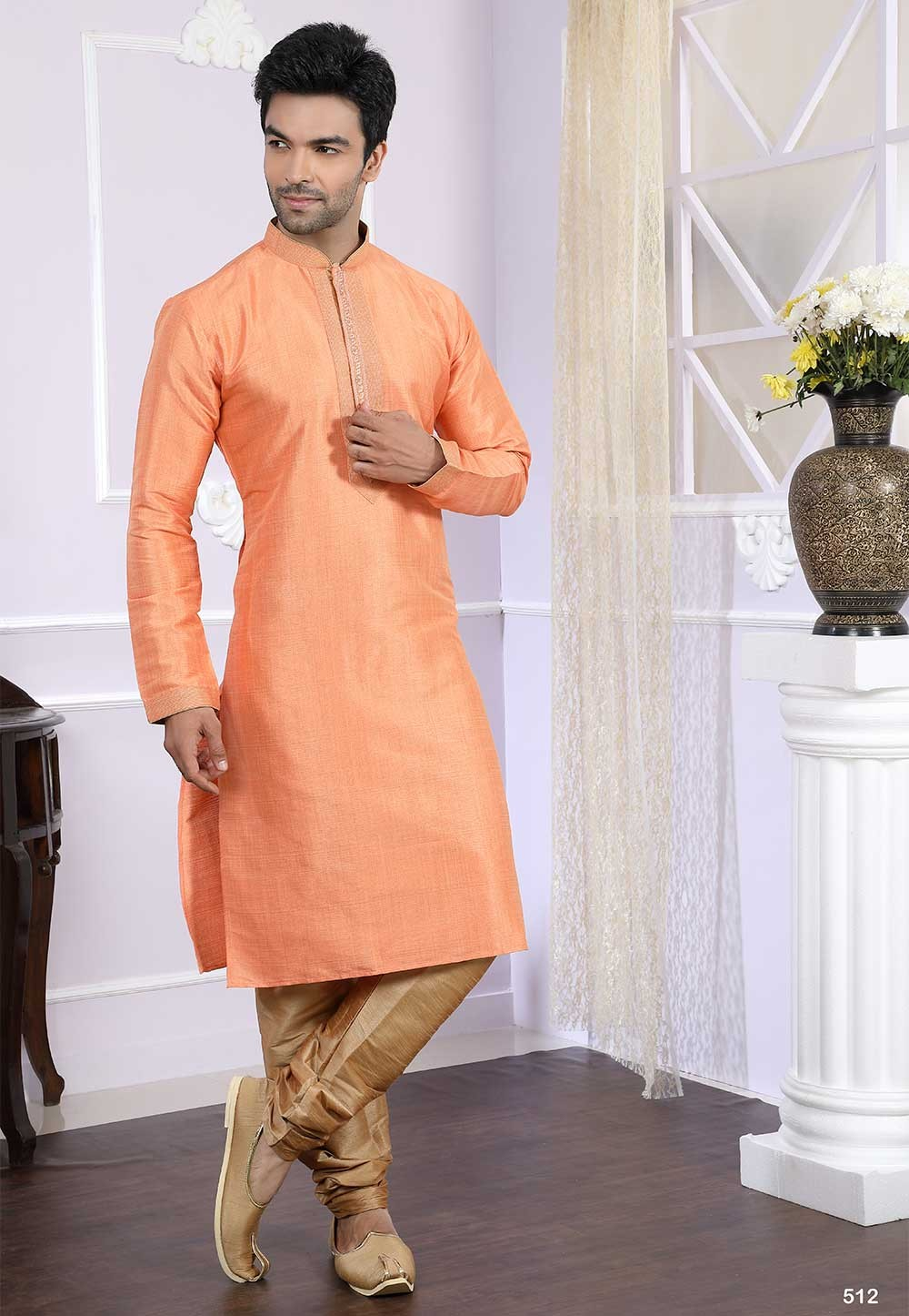 Buy designer kurta pajama in peach colour