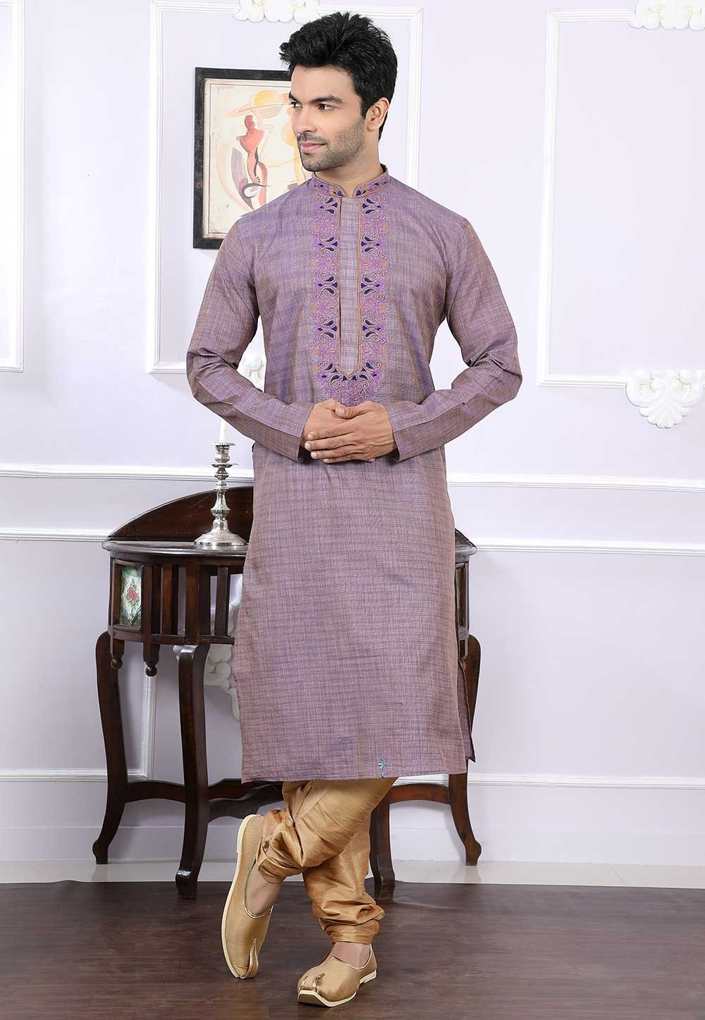 Buy designer kurta pajama in purple colour