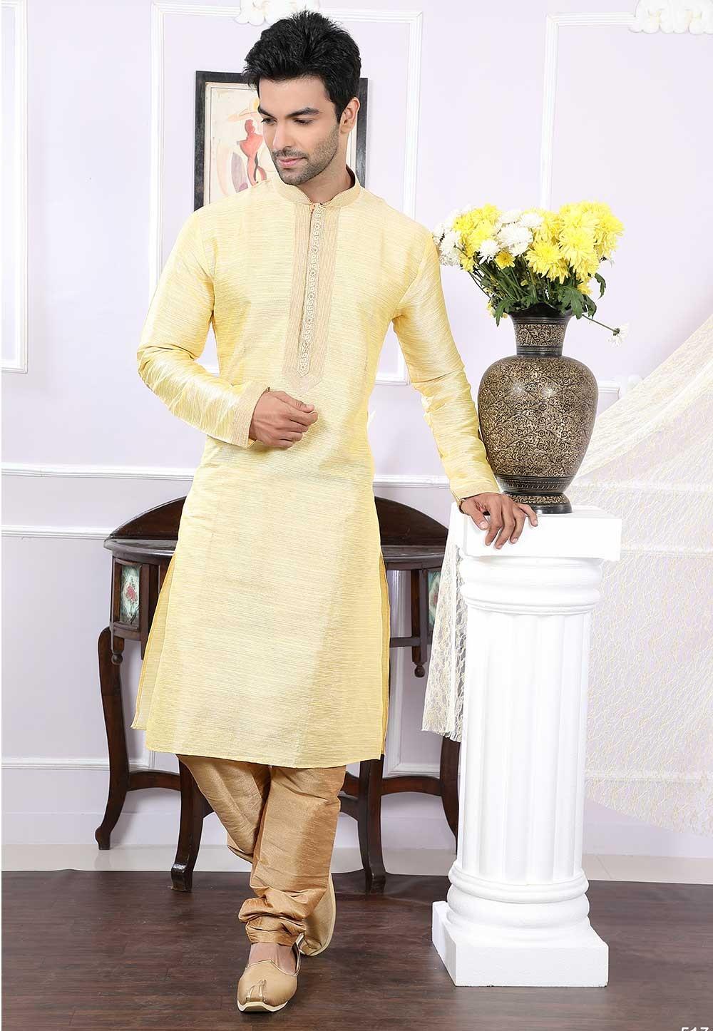 Buy kurta pyjama online in golden colour