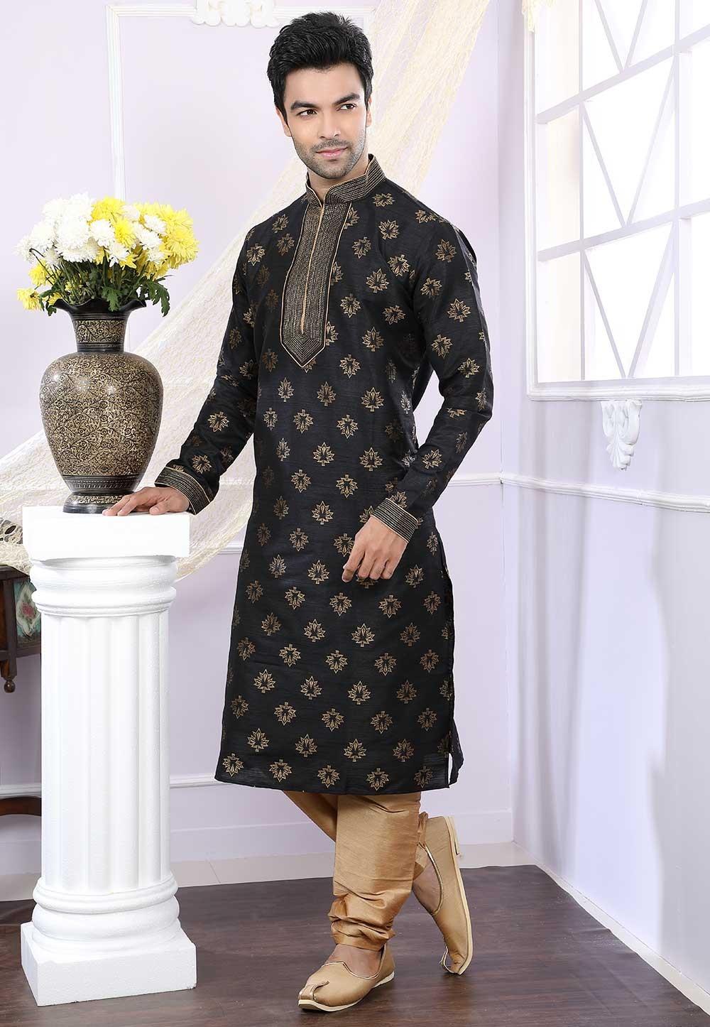 Buy kurta pyjama online in black colour