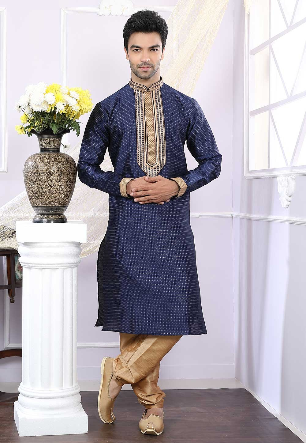 Buy designer kurta pajama in blue colour online