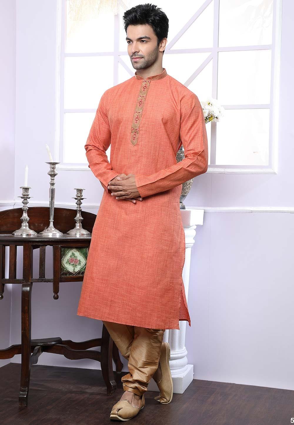 Buy designer kurta pajama in rust colour