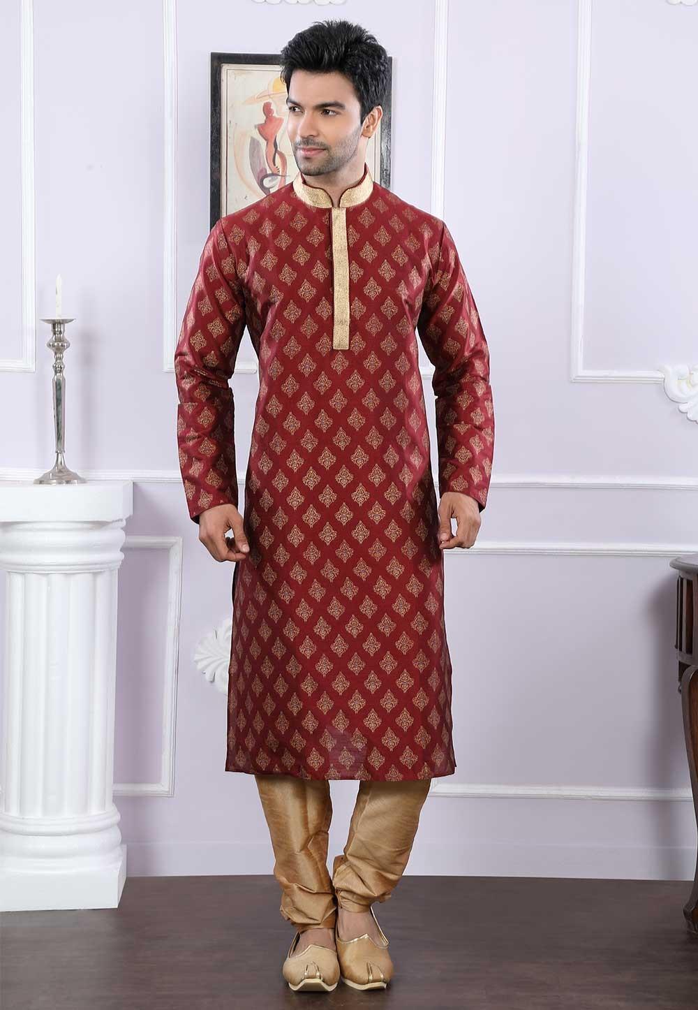 Buy designer kurta pajama in maroon colour
