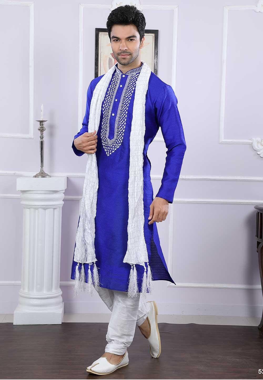 Buy kurta pyjama online in blue colour