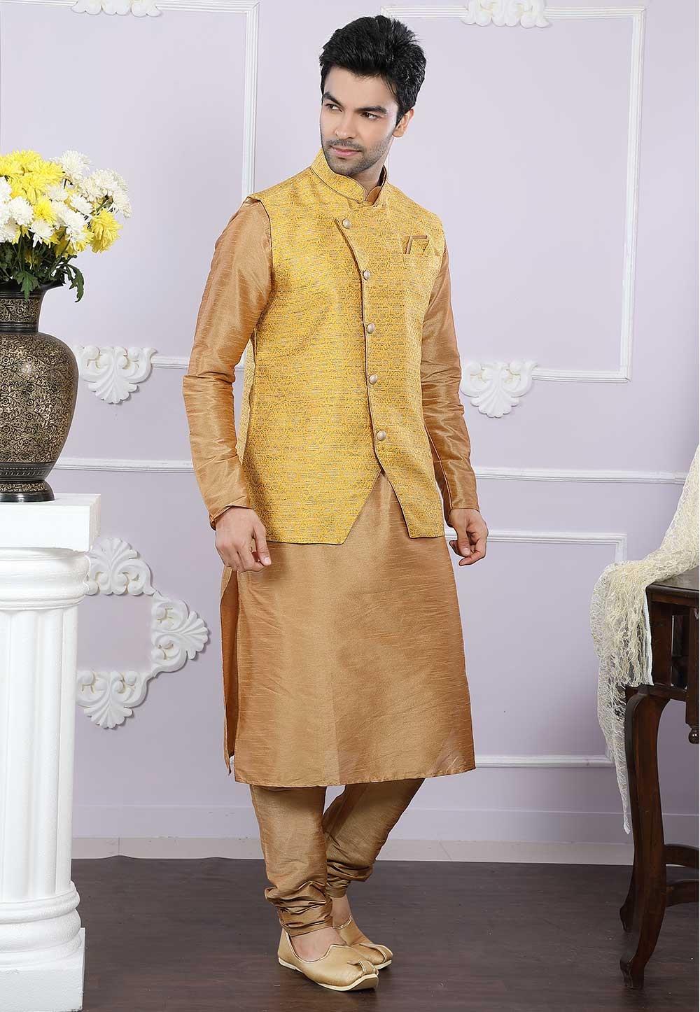 Buy designer kurta pajama in beige, yellow colour