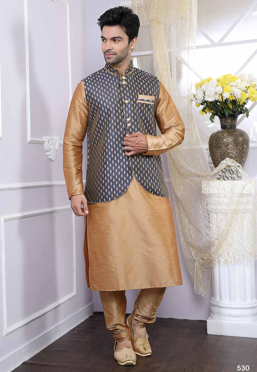 Buy kurta pyjama online in beige, blue colour