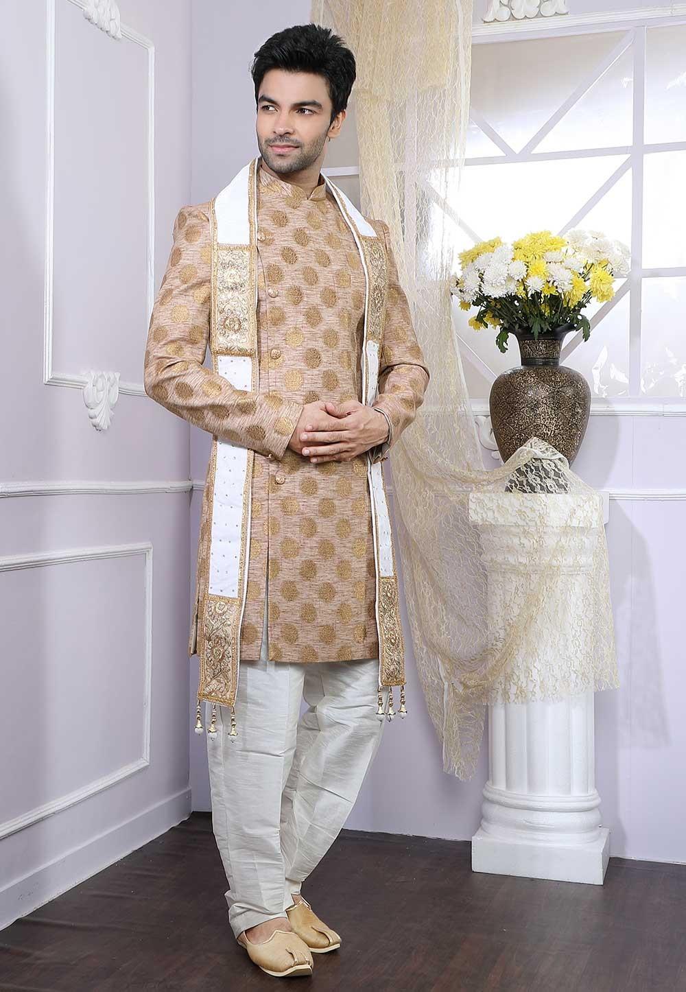 Beige Colour Wedding Indowestern.