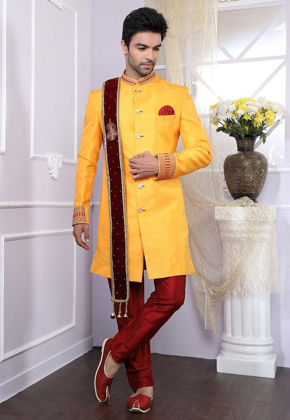 Yellow Indian Designer Indowestern.