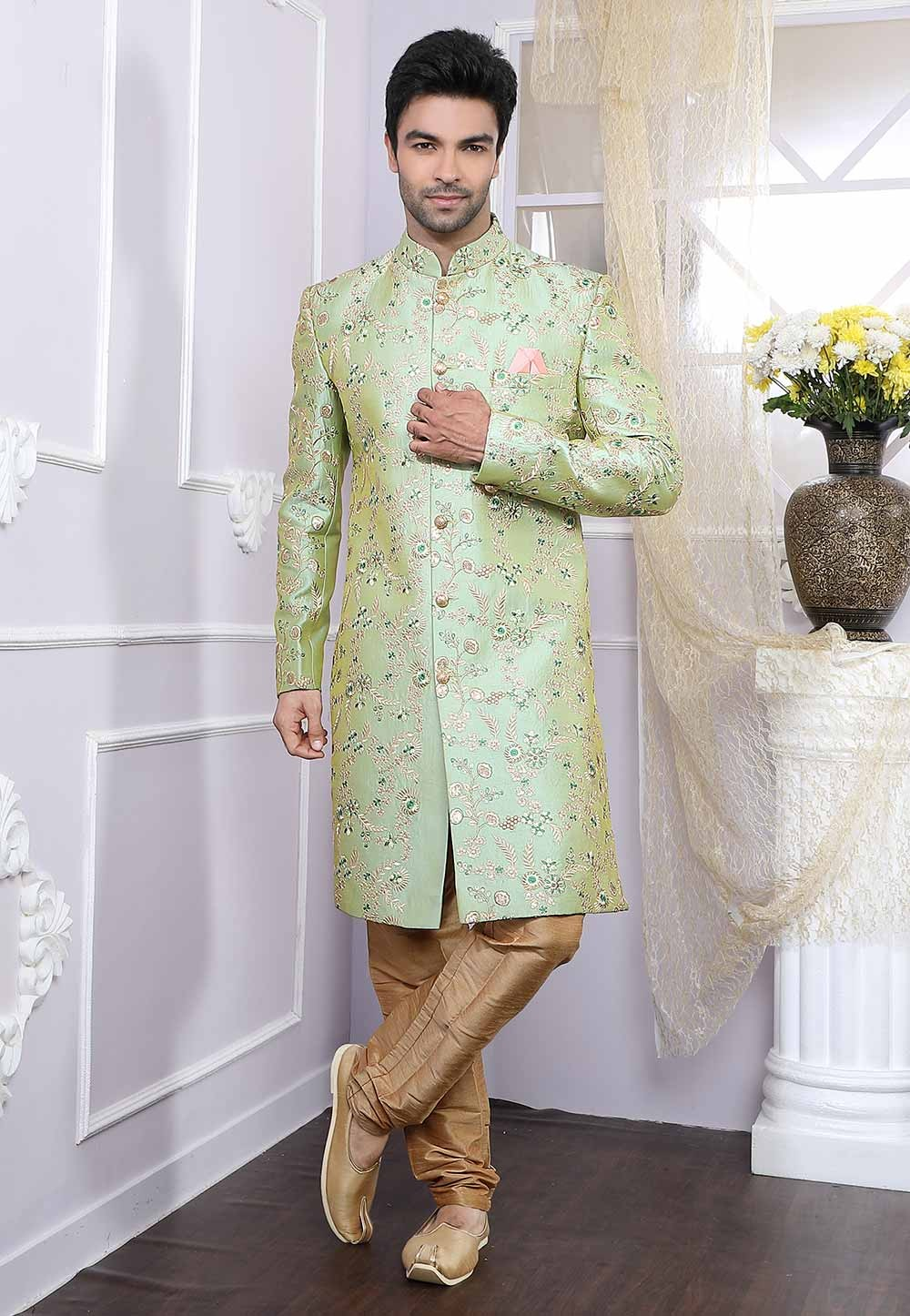 Pista Green Colour Designer Indowestern.