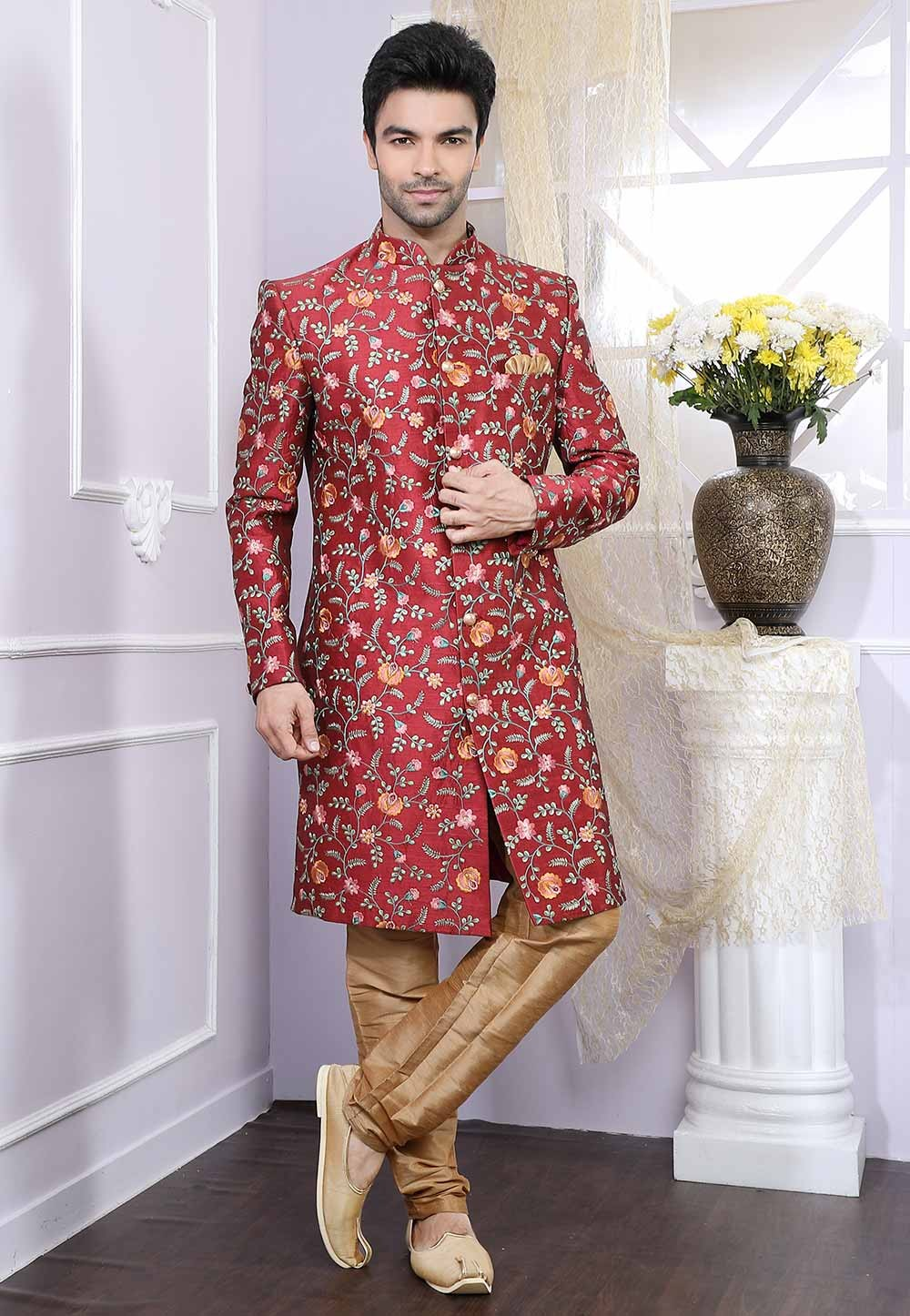 Maroon Party Wear Indowestern.