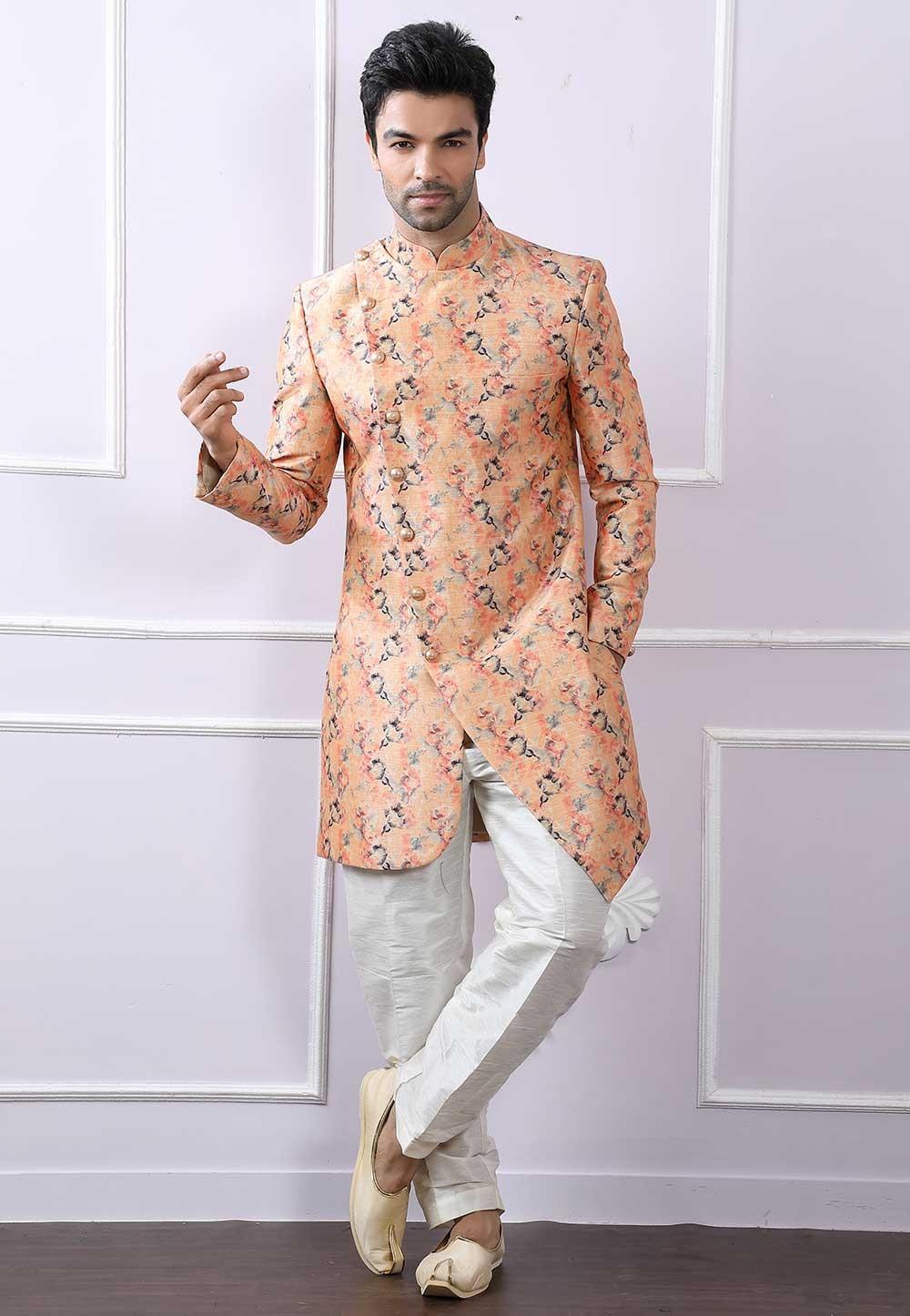 Peach Colour Designer Indowestern.