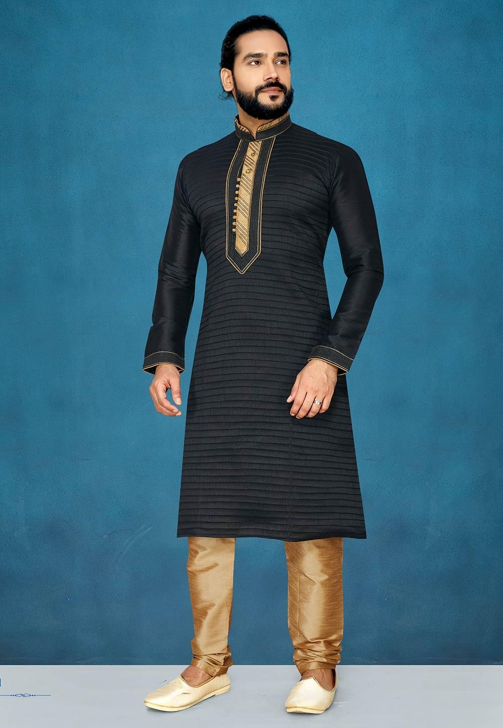 Black Colour Kurta Pajama For Men's.