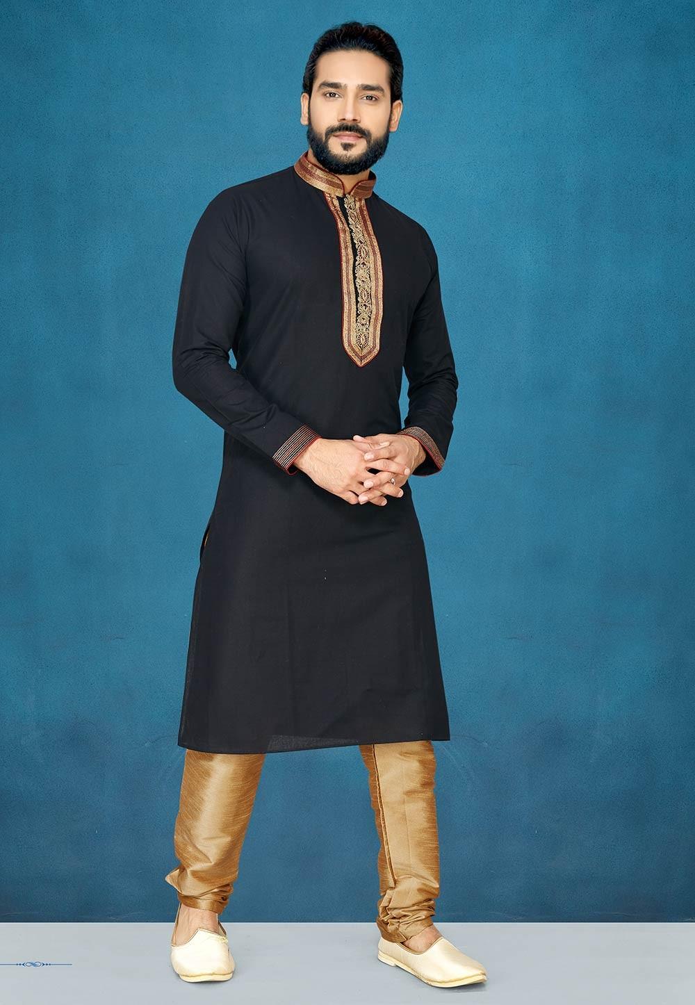 Indian Designer Kurta Pajama in Black Colour.