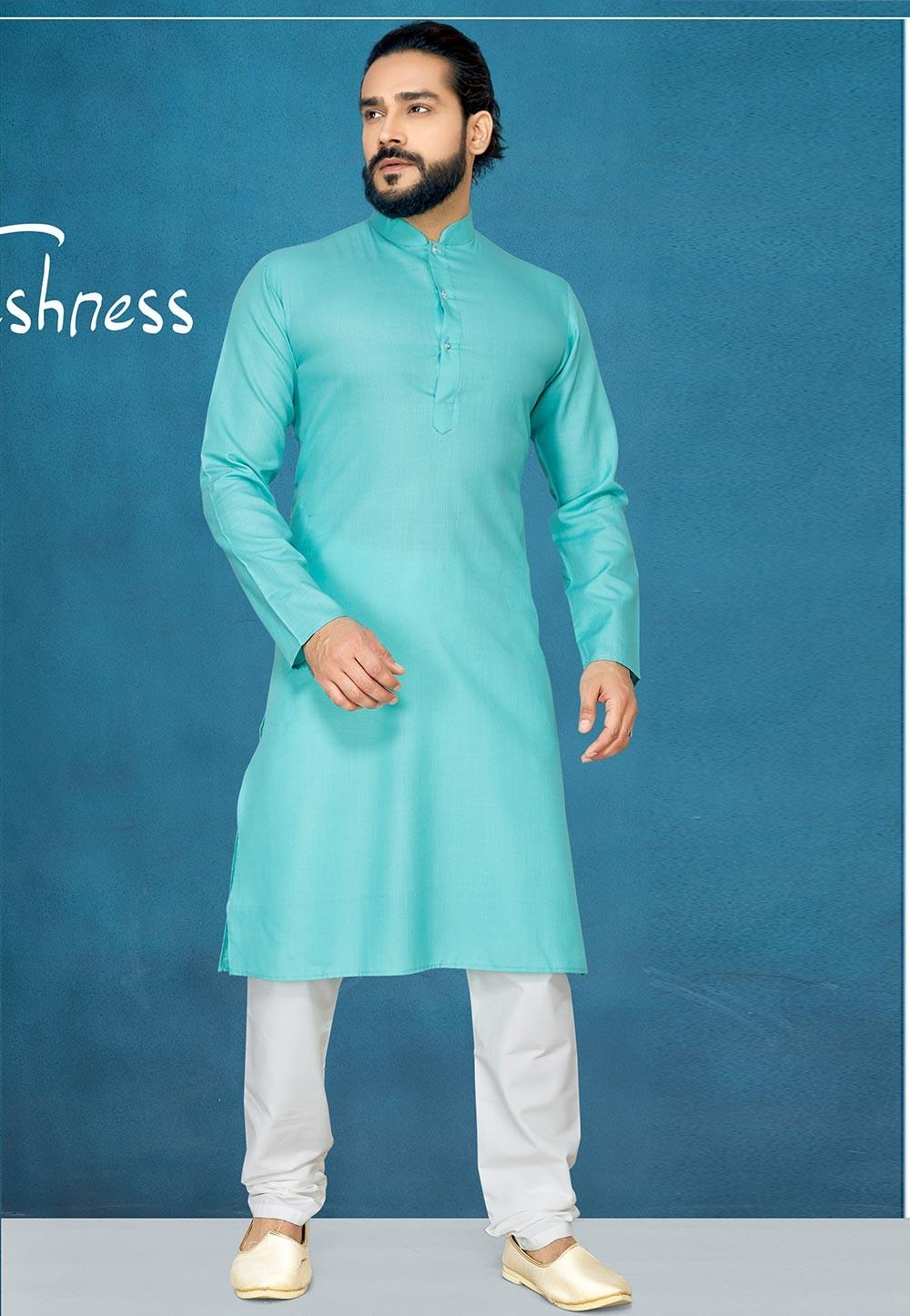 Aqua Green Colour Casual Kurta Pajama.