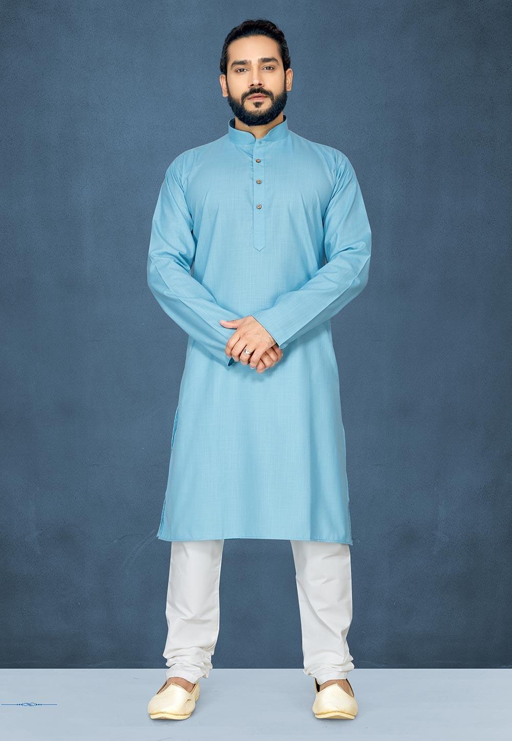 Blue Colour Cotton Kurta Pajama.