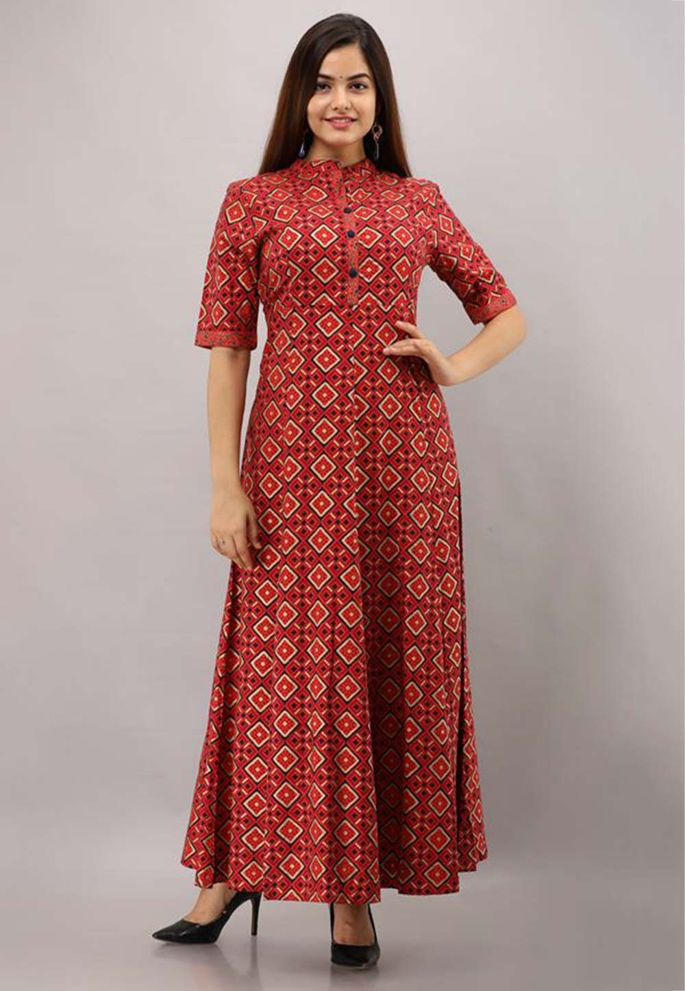 Red Colour Rayon Cotton Fabric Designer Gown.