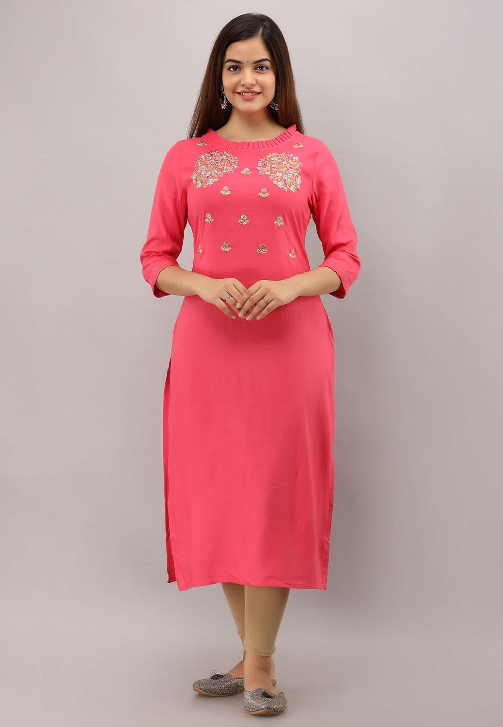 Rayon Cotton Pink Colour Readymade Kurti.