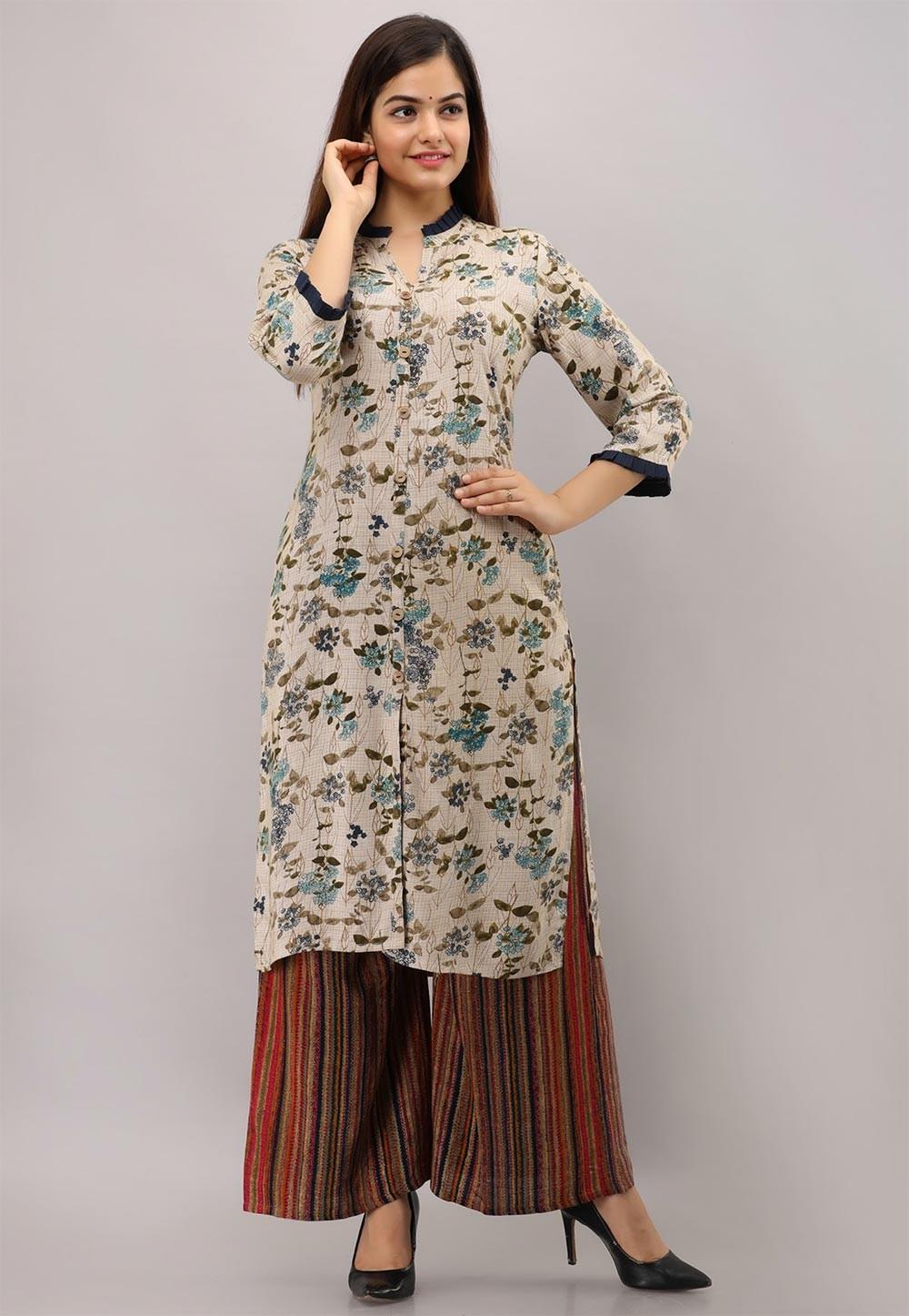 Beige Colour Rayon Cotton Fabric Readymade Kurti.
