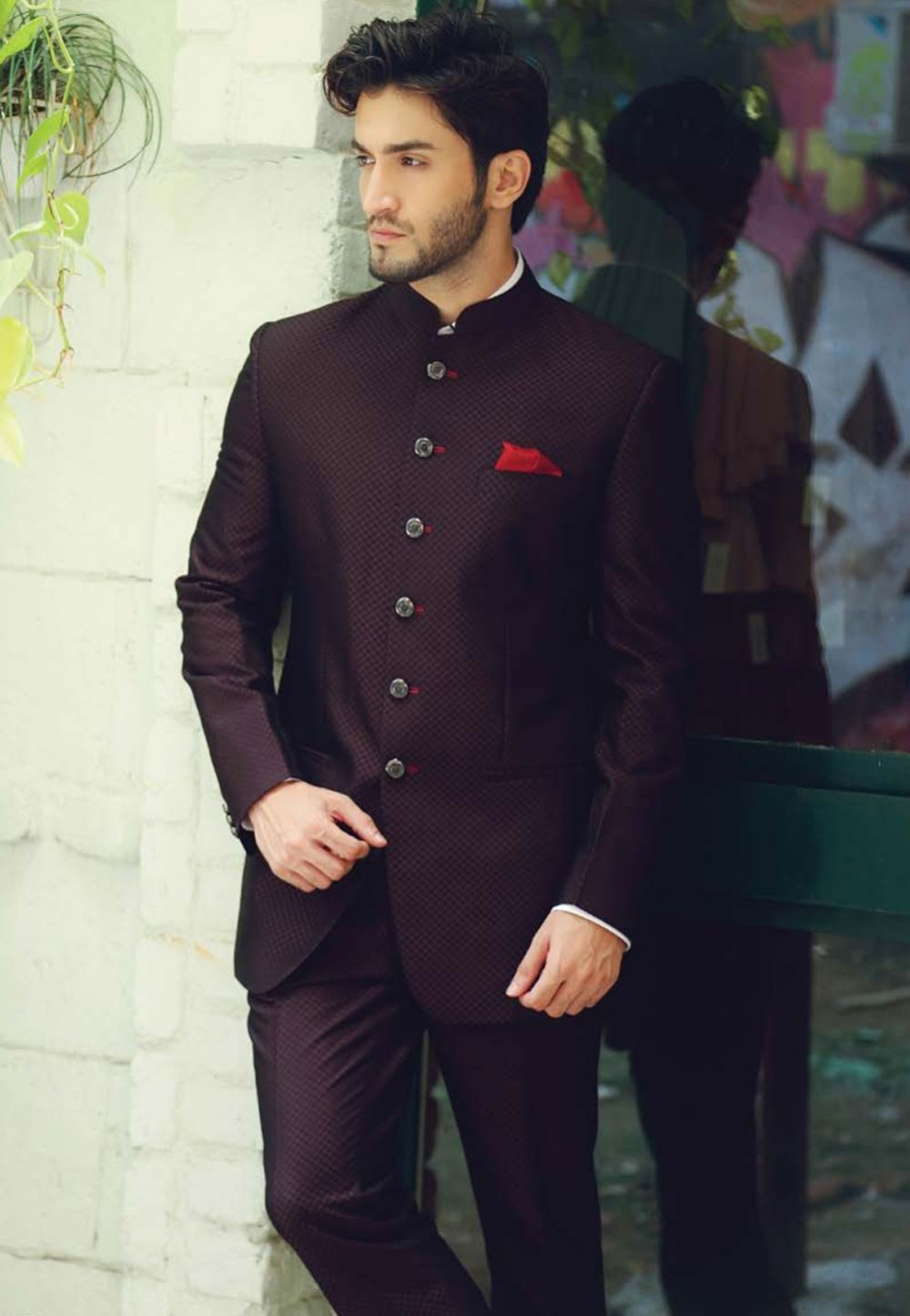 315a1db6f2 WINE COLOR DESIGNER JODHPURI SUIT
