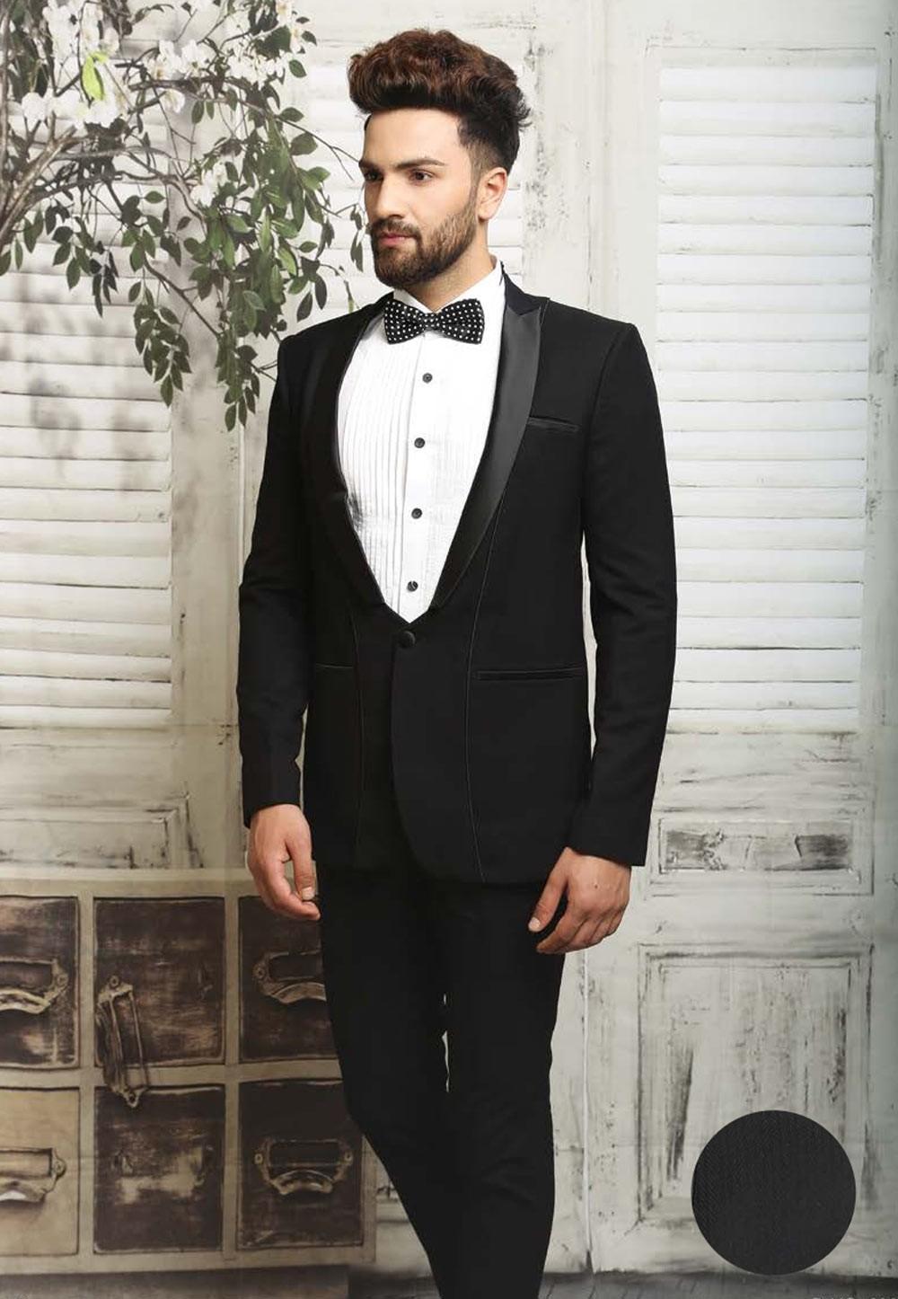 Buy Black Color Italian Fabric Tuxedo Suits Online