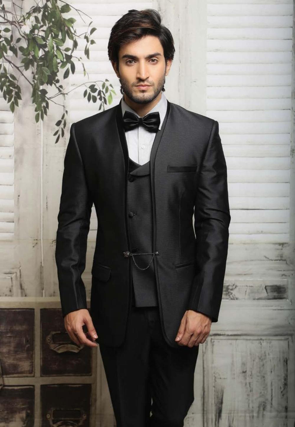 Online Mens Unique black color tuxedo suit