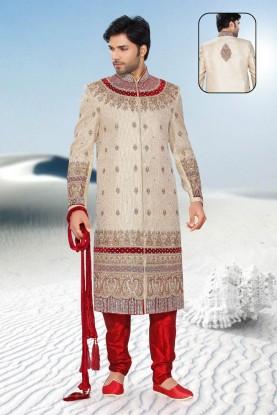 Buy Cream & maroon Sherwani for men