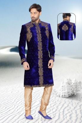 Blue velvet Indian mens sherwani
