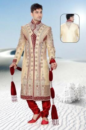 Buy cream & maroon mens sherwani online