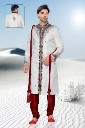 Buy off white & maroon mens sherwani online