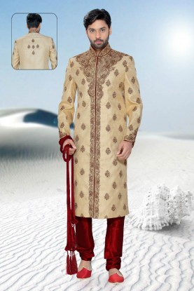 Buy mens beige jamawar Sherwani for men
