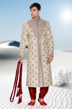 Cream & Maroon Brocade Men's Sherwani