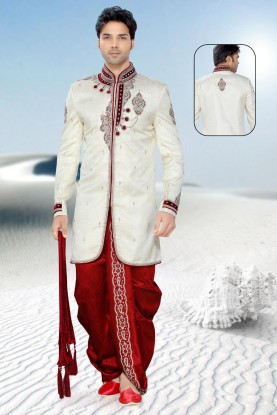 Buy Flamboyant Cream & Maroon Color Mens Sherwani Online