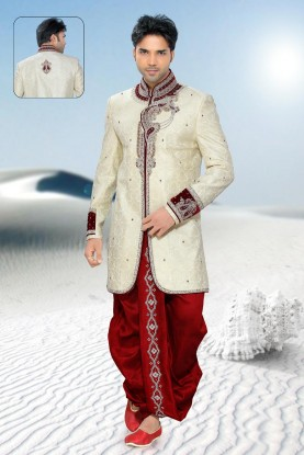 Buy Exotic Cream Mens Sherwani Online