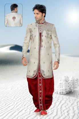 Tranquil Beige & Maroon Color Sherwani for Mens