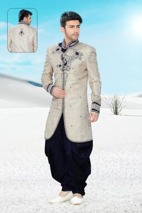 Attractive Cream Brocade Men's Indo Western