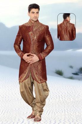 Maroon Jamawar Men's Indo Western