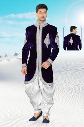 Men's Blue Velvet Men's Indo Western