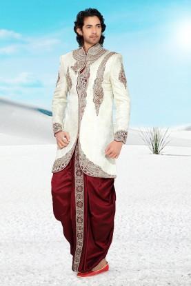 Mens Cream Brocade Indo Western