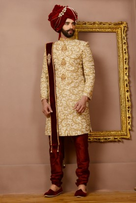 BEIGE WEDDING DHOTI INDOWESTERN
