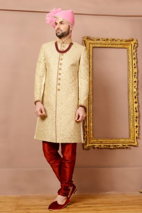 CREAM COLOUR INDIAN WEDDING BRIDEGROOM SHERWANI